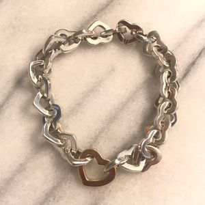 Tiffany & Co. Jewelry - Tiffany & Co 18K Gold Sterling Heart Link Bracelet